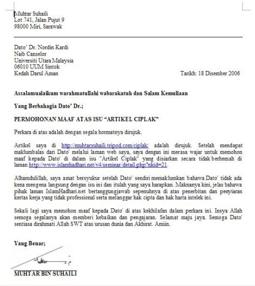 Apology Letter UUM